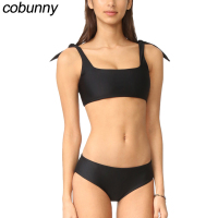 Cobunny Black Solid Bikini Set Women Swimsuit 2018 New Push Up Swimwear Bow Crop Top Bikini
