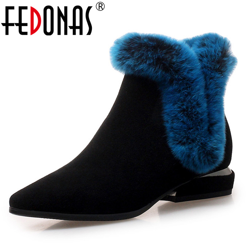 FEDONAS 2019 Elegant High Quality Women Cow Suede Ankle Boots Thick Heels Warm Winter Shoes Woman Zipper Basic Boots Snow Boots FEDONAS 2019 Elegant High Quality Women Cow Suede Ankle Boots Thick Heels Warm Winter Shoes Woman Zipper Basic Boots Snow Boots