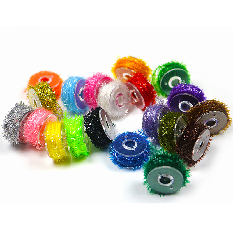 10 colors/set Fly Fishing Tinsel Chenille Crystal Flash Line Rig Bait Making Assorted Fly Tying Streamer Flies Material