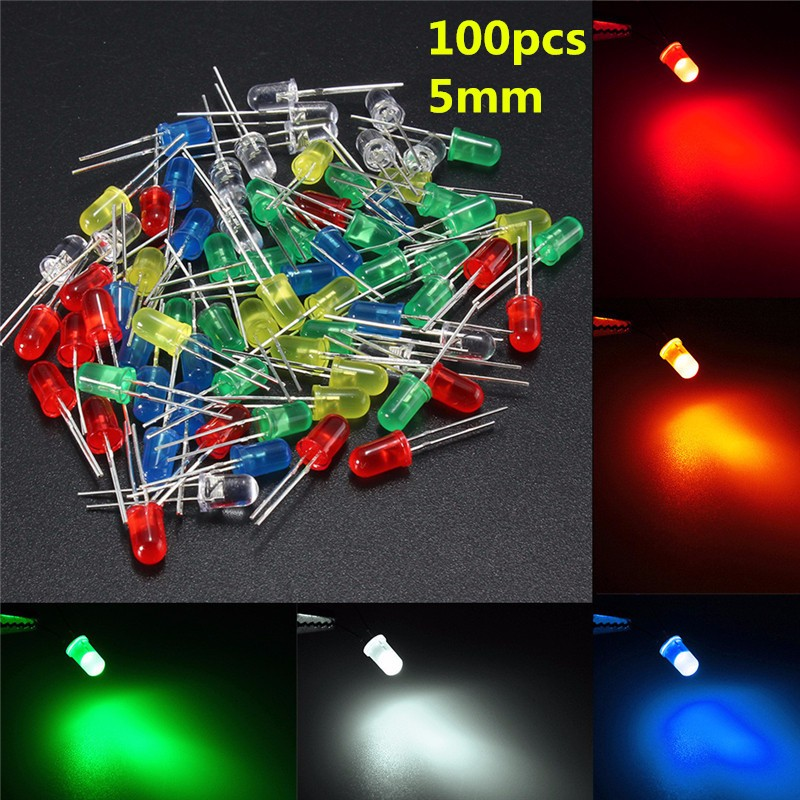 50Pcs 5mm Red/Green/Blue/Yellow/White Round Top Color Diffused LED Light Emitting Diode Lamp Assorted Kit Set