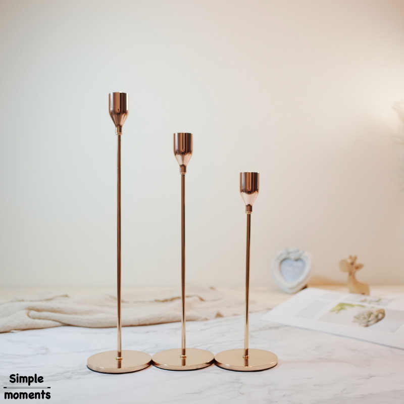 Simple moments Modern Style Gold Metal Candle Holders Wedding Decoration Bar Party Home Decor Candlestick