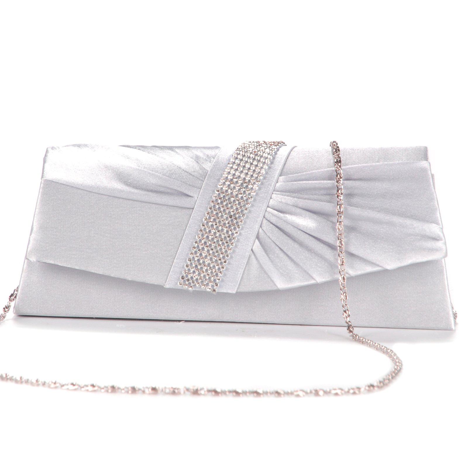 cd0fb165c076 TEXU mujeres cinta bolsa CLUTH plata diamante Rhinestones bolso bolsa forma  satén plisado trapecio Rabat Crimp de Strass plata