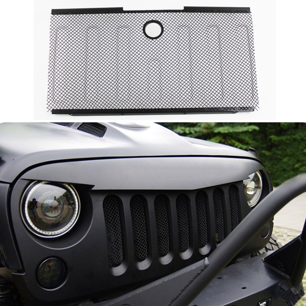 front bumper hood grille screen mesh grill cove for jeep wrangler jk 07 08 09 10 11 12 13 14 2015 qpa205 in chromium styling from automobiles  [ 1000 x 1000 Pixel ]