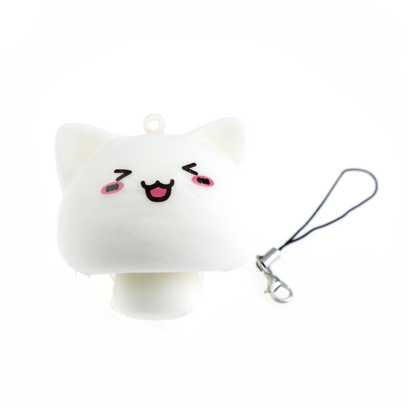 Mobile Phone Straps Soft Squeeze Kid Toy Gift Kawaii Animals Mochi White Multi-expression Mushroom Rabbit Squishy Toys Phone Straps Pendant