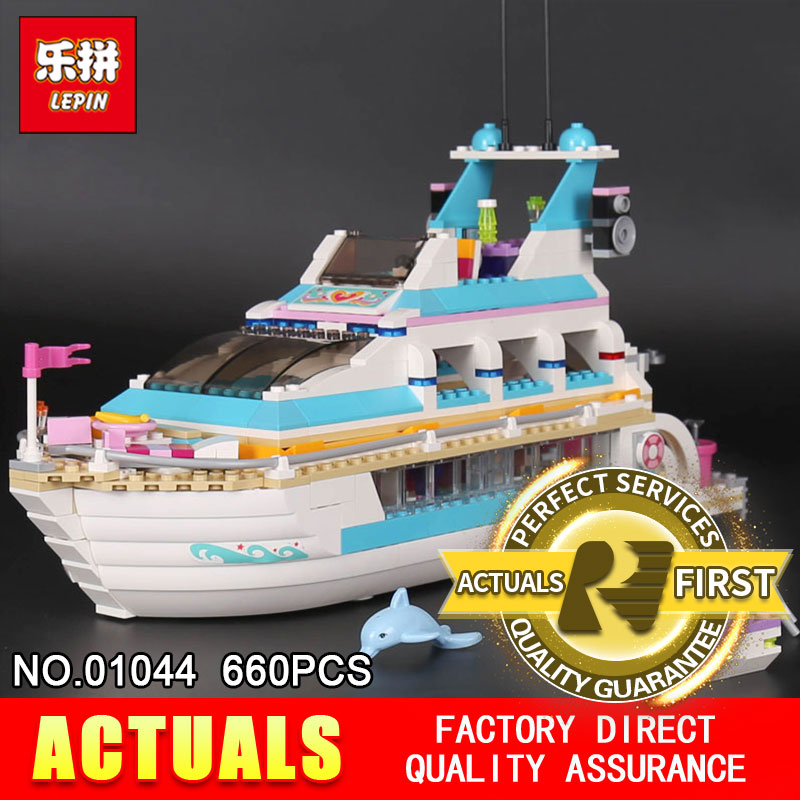 Lepin 01044 660Pcs Genuine Girl Series The Dolphin Cruiser Set 41015 Building Blocks Bricks Funny Toys Model For girls gifts the girl with all the gifts
