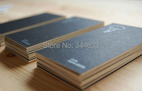 customized 600gsm kraft paper business card printing visiting card hot silver stamping matte black business cards free shipping - Kraft Paper Business Cards