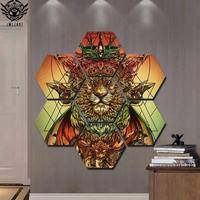 Lion Ras Colors by jml2arts 7 Pieces King Lion Painting wall artCanvas art Painting wall pictures For Living Room