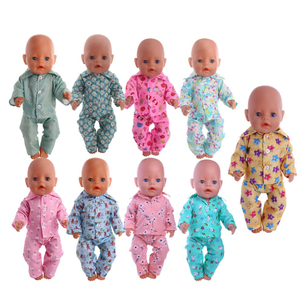 Doll Clothes Cute Pajamas Nightgowns Fit 18 Inch American Doll & 43 Cm Baby Doll For Our Generation Girl`s Toy Doll Accessories