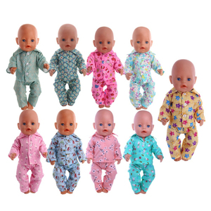 Doll Clothes Cute Pajamas Nightgowns Fit 18 Inch American Doll & 43 Cm Baby Doll For Our Generation Girl`s Toy Doll Accessories(China)