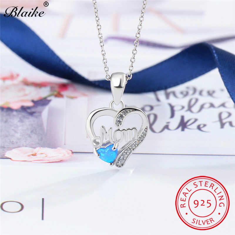 Blaikeแท้เงินแท้925รอบสีฟ้าโอปอลไฟจี้สำหรับผู้หญิงสีขาวเพทายเกิดหัวใจสร้อยคอแม่ของขวัญ