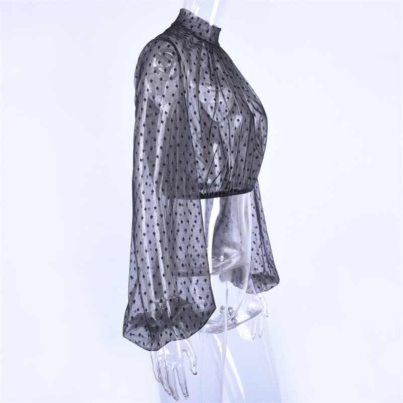 Единорог распродажа полиэстер Tumblr новые Kpop женские Бесплатная доставка 2019 стилей волны сетки сексуальные Блузы с рукавами «фонарик» джемпер