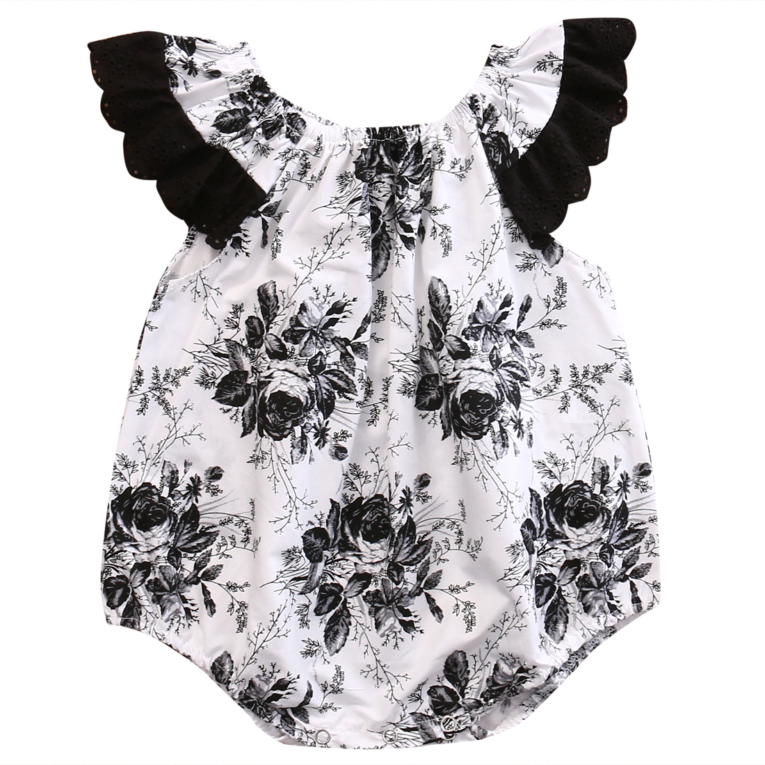 Newborn Baby Girls Lace Floral Romper Jumpsuit One-Pieces Summer Sleeveless Clothes 0-24M