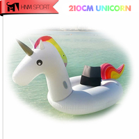 83Inch 2.1M Gaint Inflatable Unicorns Air Mattresses Air Sofa Rideable Swimming Pool Float Toy Water Bed for Beach Holiday Ring