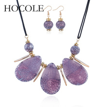hot deal buy hocole 2018 new fashion jewelry sets for women bohemia water drop necklace pendant earrings statement bridal wedding party gift