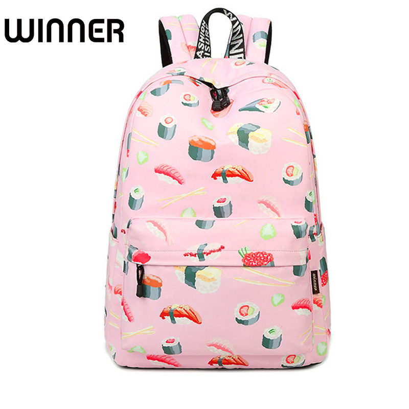 Fashion 15.6 Inch Waterproof Fabric Women Backpack Pink Cute Sushi Cuisine Pattern Printing Large Capacity Girls Bookbags fashion 15 6 inch waterproof fabric women backpack pink cute sushi cuisine pattern printing large capacity girls bookbags