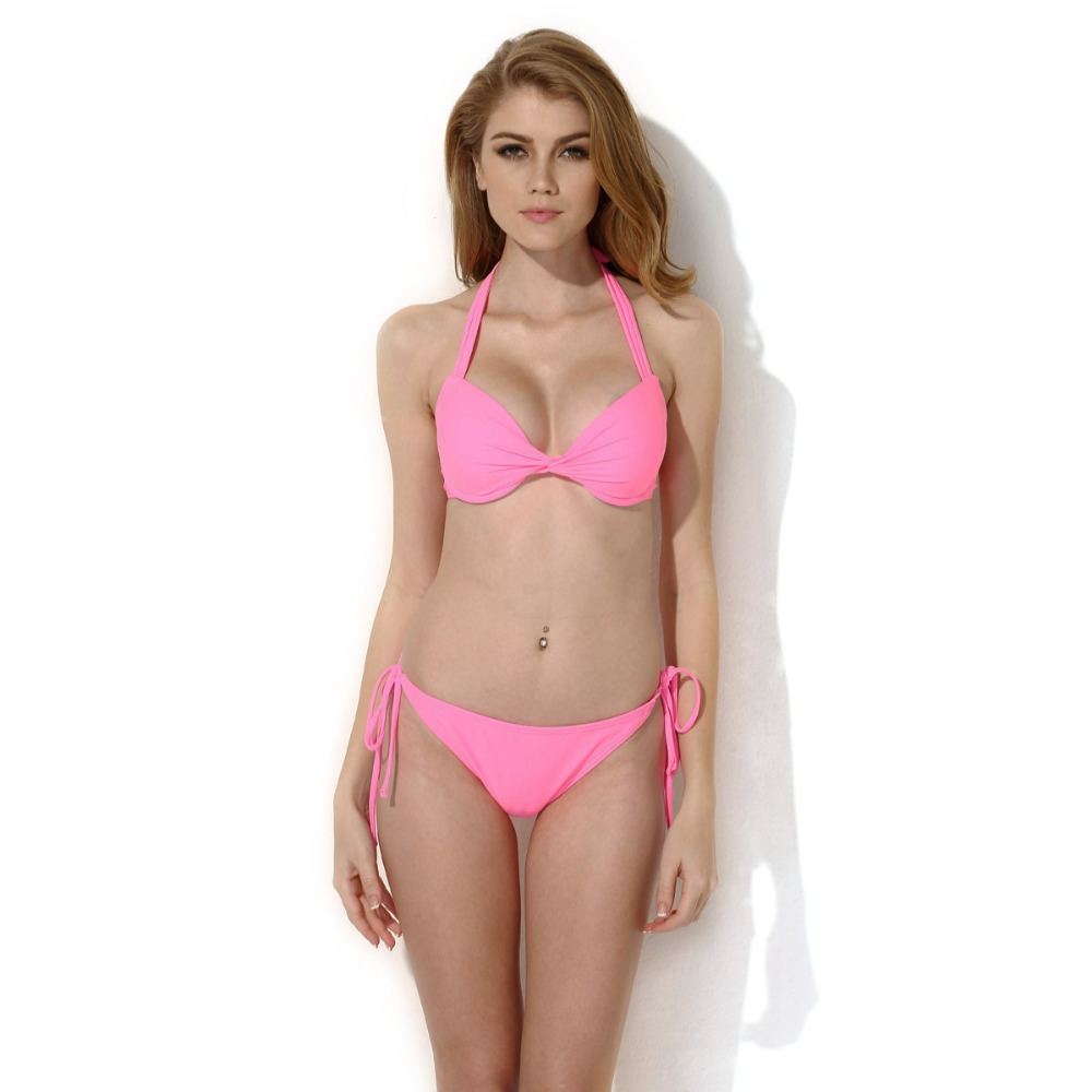 New <font><b>Sexy</b></font> <font><b>Pink</b></font> Cups <font><b>Halter</b></font> <font><b>Top</b></font> <font><b>Bikini</b></font> <font><b>Swimwear</b></font> <font><b>Set</b></font> with Push-up Swimsuit Women Low Waist Solid Bathing Suit Beach Wear Biquini