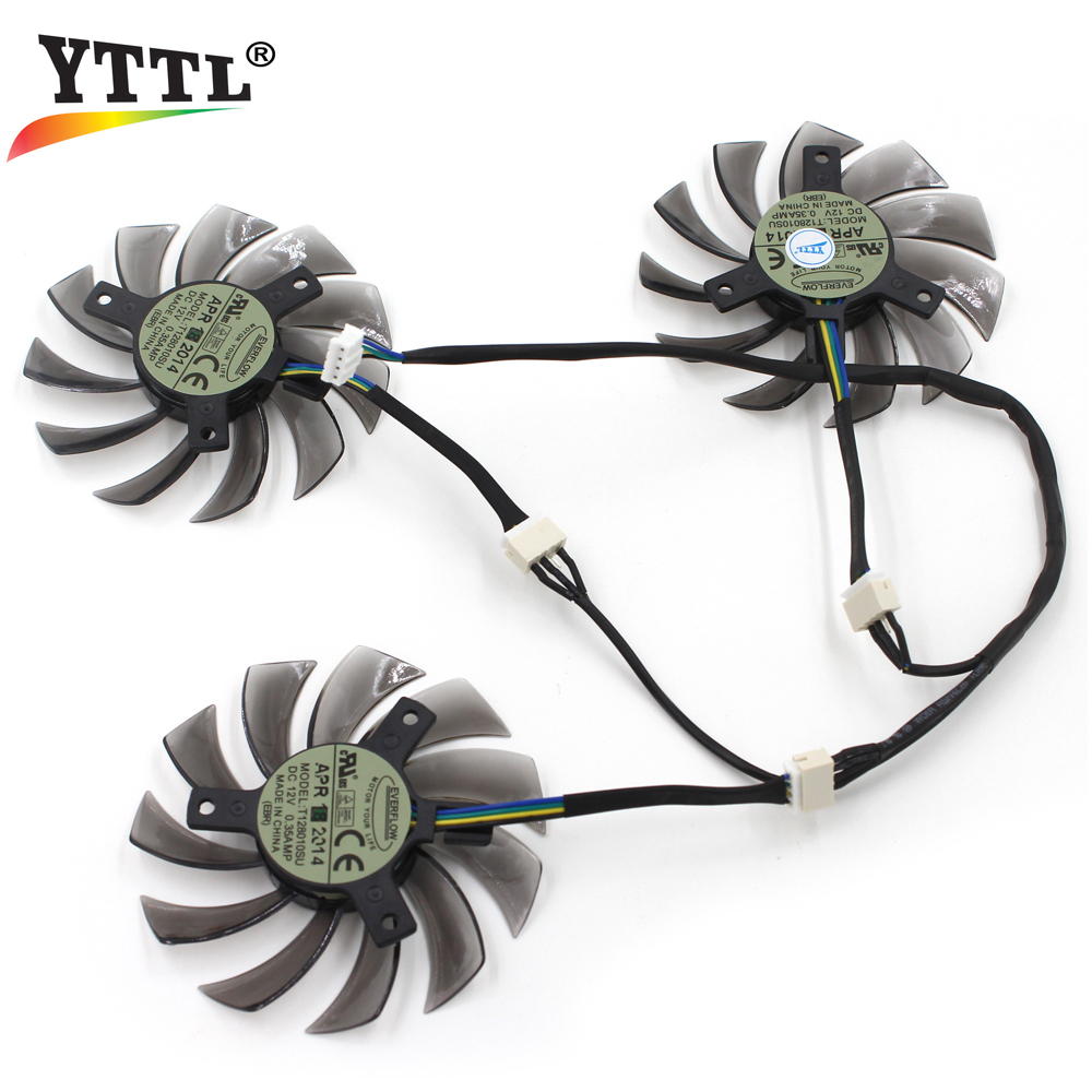 Everflow T128010SU 75MM 4Pin 0.35A Cooling Fan Graphics Video Card Gigabte GeForce GTX770 GTX760 GTX680 pla0815s12hh 12v 0 35a graphics cooling dual fan for gainward geforce gtx680