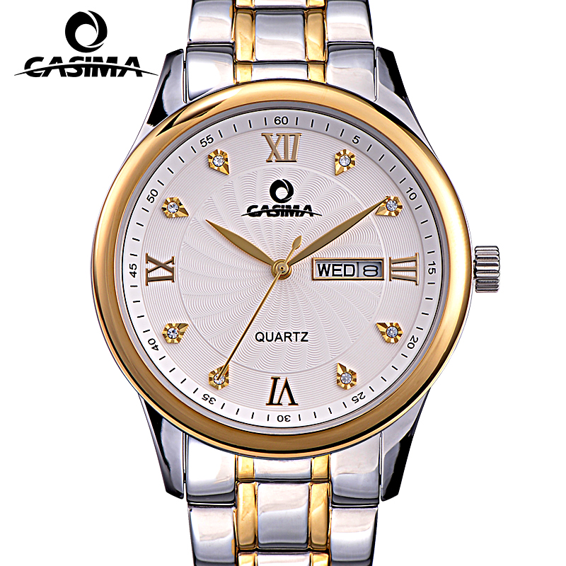 Relogio Masculino CASIMA Gold Quartz Watch Men Top Brand Luxury Business Week Date Wrist Watch Men's Dress Clock Montre Homme casima brand week date mechanical watch men sapphire crystal business automatic wrist watch waterproof clock relogio masculino