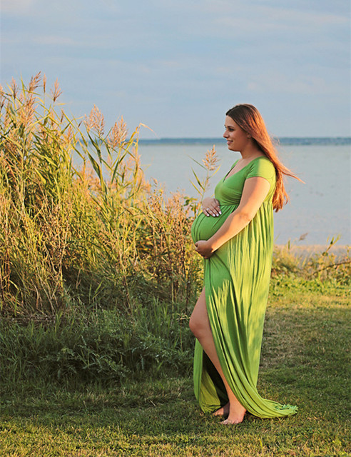 Vestido de maternidade Para A Foto Tiro Barco Pescoço Vestido Branco Maternty Adereços Fotografia Trecho de Algodão de Manga Curta Vestido de Grávida