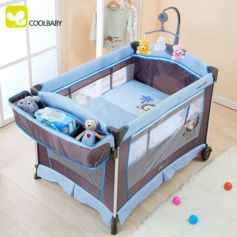 buy multifunctional folding crib child bed continental portable playpen with. Black Bedroom Furniture Sets. Home Design Ideas