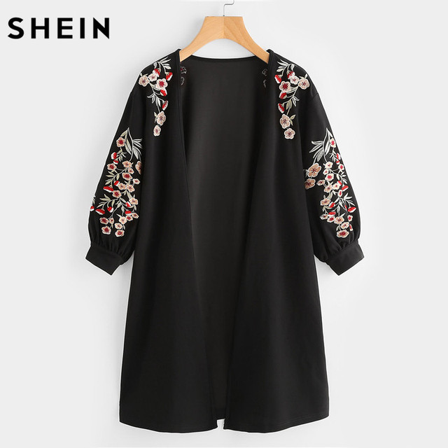 05d1c0444657 SHEIN Blossom Embroidered Bishop Sleeve Cardigan Autumn Black Collarless  Long Sleeve Women Tops Fashion Long Cardigan