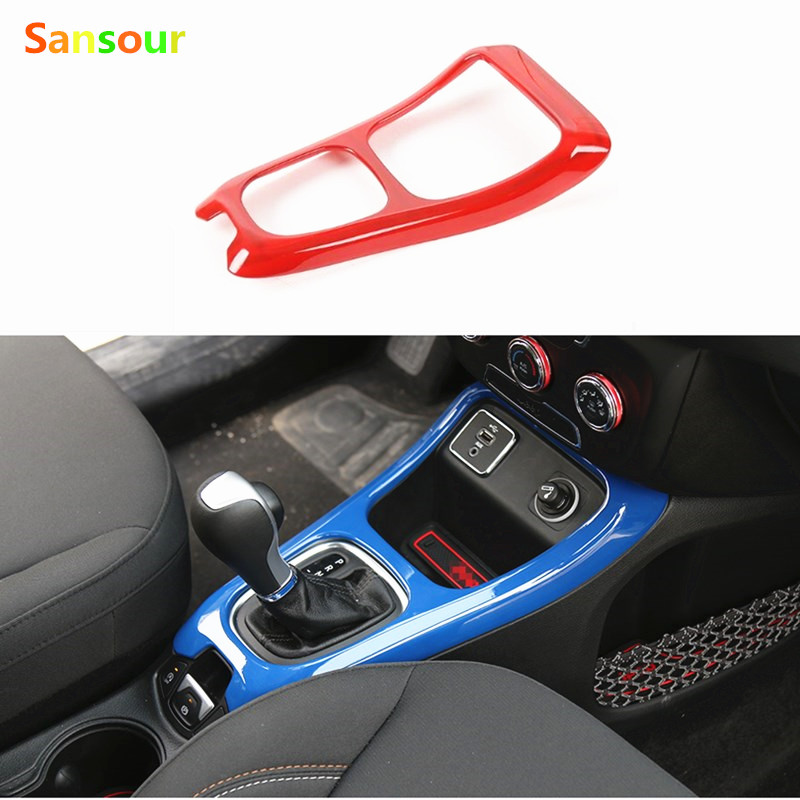 Sansour Auto Interior Gear Shift Panel Frame Trim Styling Fit For <font><b>Jeep</b></font> <font><b>Compass</b></font> 2017 ABS Car Cover <font><b>Accessory</b></font> 6 Colors image