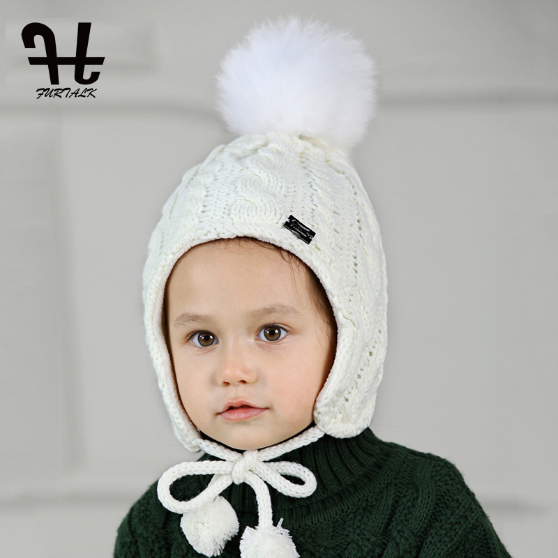 FURTALK Children Hat and Scarf Set for Girls and Boys Knitted Winter Hats Real Fox Fur Pompom Hats Thick Warm Ears Beanies cap