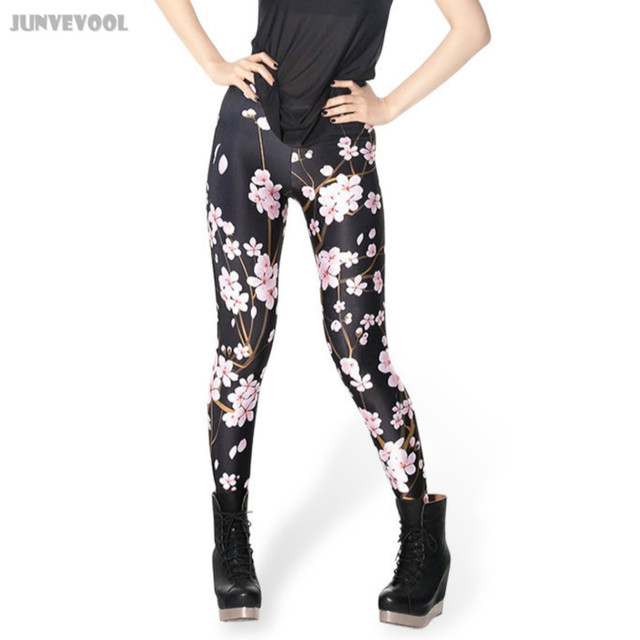 Polyester Spandex Plus Leggings Pink Plum Women's Pants 3D Tattoo Printed Women's Legging Floral Flower Capris Black Fitness New
