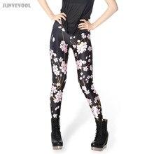 Polyester Spandex Plus Leggings Pink Plum Women's Pants 3D Tattoo Printed Women's Legging Floral Flower Capris Black Fitness New
