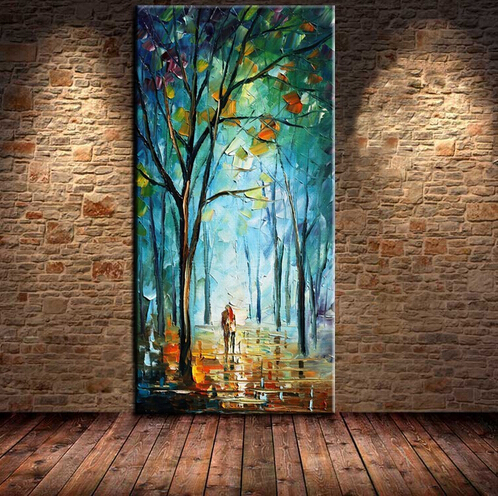Wall Decoration High Quality handmade Knife Oil Painting On Canvas Handpainted Abstract Modern Rain Tree Road Palette Picture in Painting Calligraphy from Home Garden