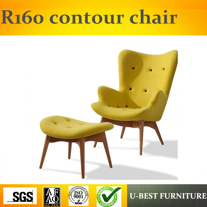 U BEST Yellow Fabric Replica Grant Featherston Contour Chaise Lounge Chair
