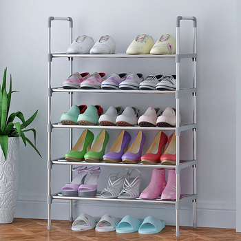Simple Shoe Rack Stainless Steel Easy Assembly Door Space Saving Shoes Storage Organizer Shelf Large Shoe Shelf with Handrail Полка
