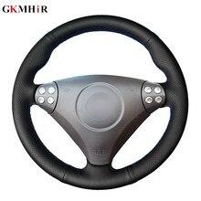 Tampa para volante de carro em couro artificial, faça você mesmo, capa preta para mercedes benz slk-class w170 w61 slk 2010-2019 c230 komp