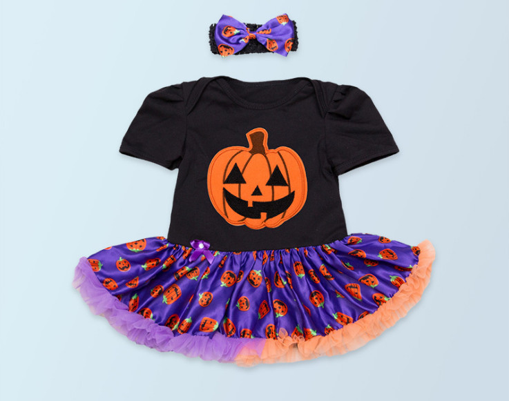 New 2016 Halloween holiday romper dress For Newborn baby high quality toddler girl rompers tutu and flower headband clothing set