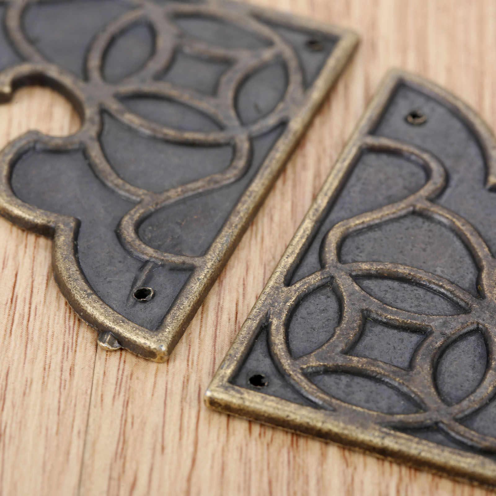 2 pçs bronze antigo protetores decorativos liga de zinco caixa de madeira protetor álbum menu pasta protetores canto