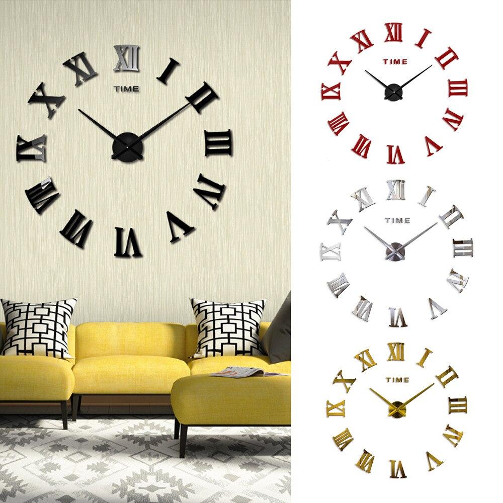 Special Offer 3d Big Acrylic Mirror Wall Clock Diy Quartz Watch Still Life Clocks Modern Home Decoration Living Room Stickers25