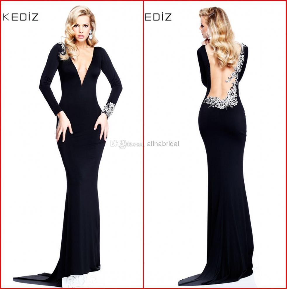 Free Shipping Party Gowns New Fashion V-neck Backless Vestidos De Festa Long Sleeve Black Evening Mother Of The Bride Dresses