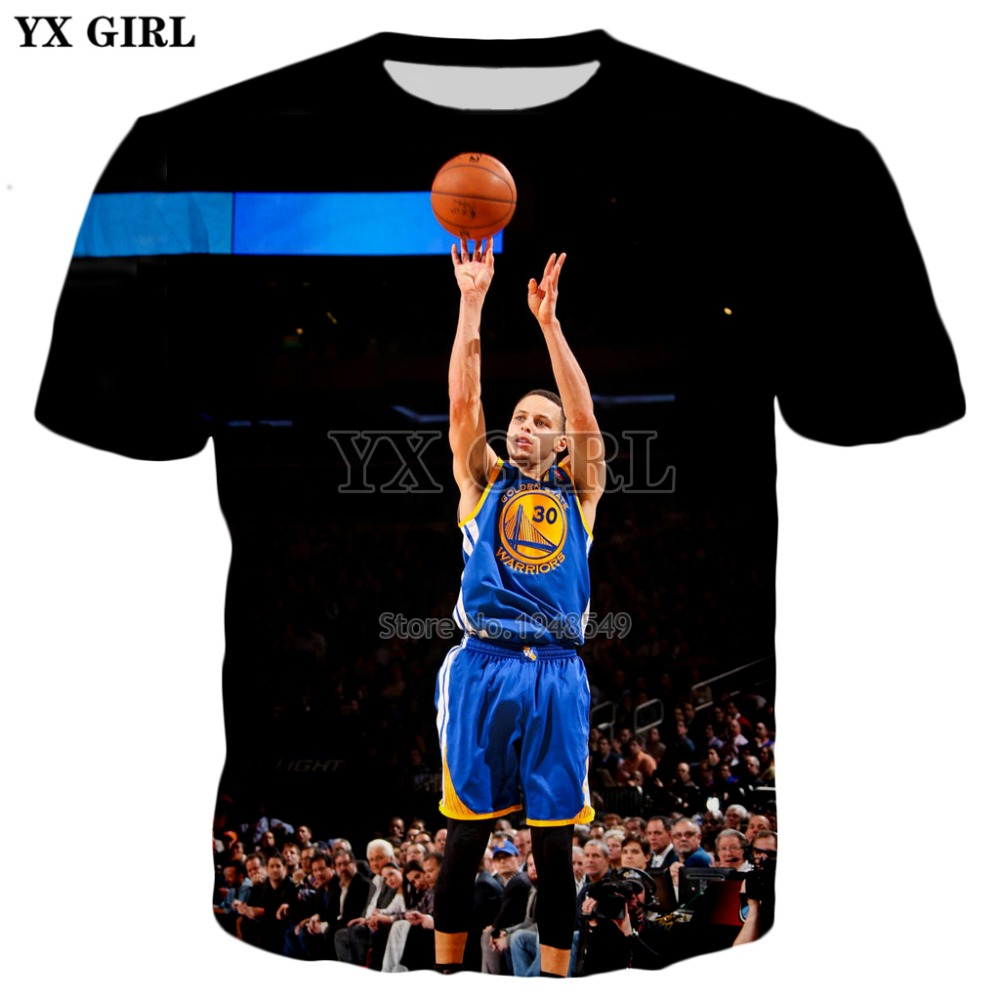 YX GIRL Drop shipping 2018 summer New Fashion 3d t-shirt Celebrities Stephen Curry Printed Mens Womens Harajuku Tee shirts