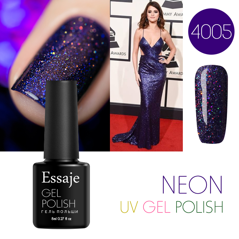 Essaje Bling Colorful Neon Gel Polish Lak Semi Permanent