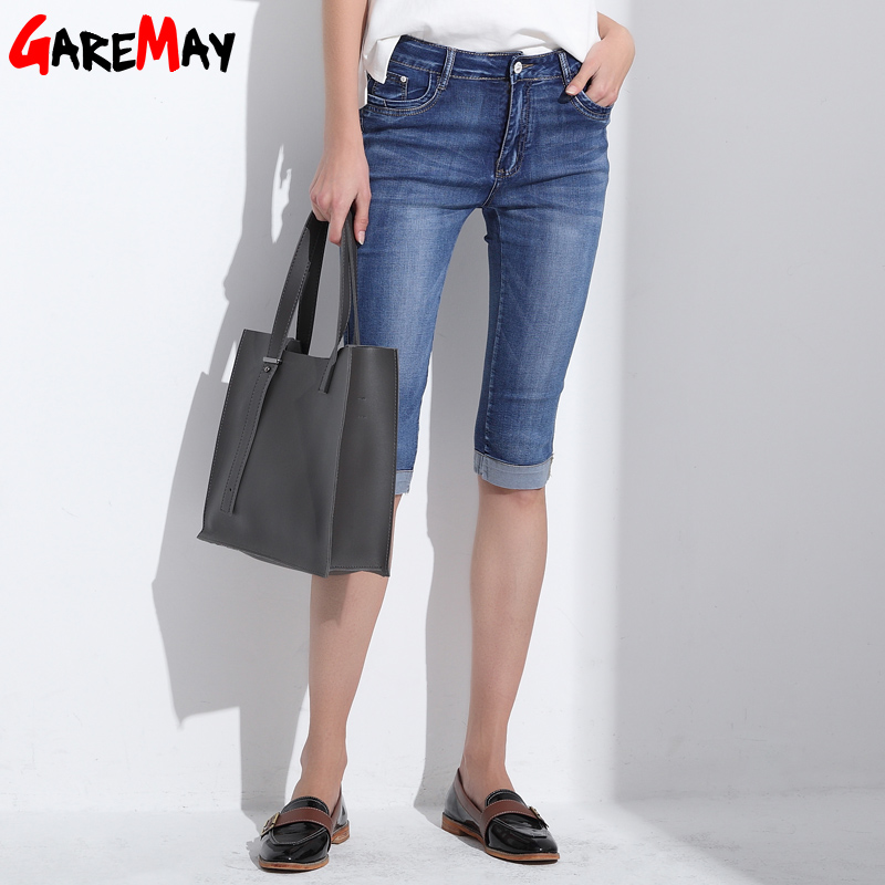 GAREMAY 2017 Women Summer Jeans Capris Cropped Trousers Stretch High Waist Casual Pants Female Slim Fashion Denim Capris 8801 inc new solid white women s size 0 knitted capris cropped pants $59 056