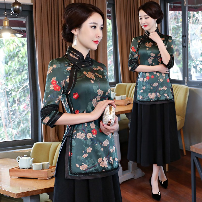 New Summer Femmes Chemisier Jupe Ensembles Traditionnels Chinois 2 pc À Manches Courtes Chemise Mandarin Col Cheongsam Robe Taille S-XXXL 9963