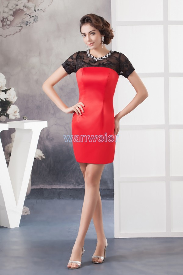 free shipping 2016 new hot sale special occasion custommade size/color beading mini short sleeve sexy crystal   Cocktail     Dresses