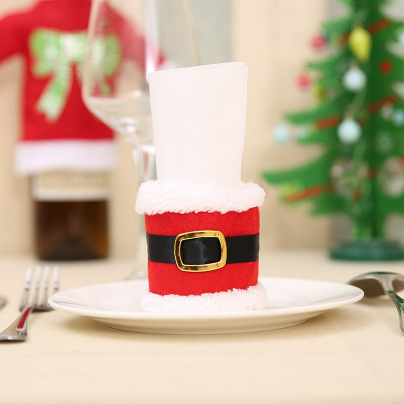 2pcs Creative 2017 christmas Clothes Napkin Ring 7*19cm Table decorations for home natal Towel ring enfeites de natal kerst