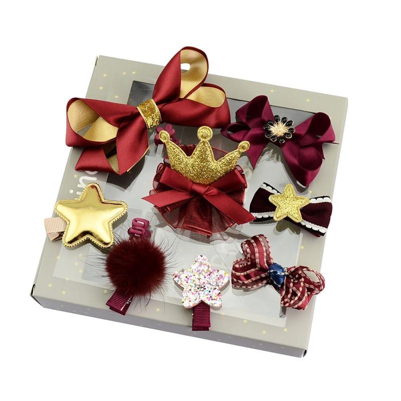 10Pcs/Set Fashion Children Headwear Set High Quality Exquisite Girls Cotton Hair Accessories Tie Bow Crown Hair Clips Gift Boxed