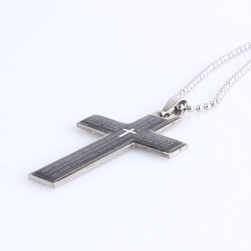free shipping Black oil cross Holy Bible 316L Stainless Steel pendant necklaces bead chain for men women wholesale
