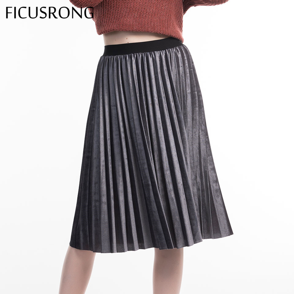 FICUSRONG New 2019 Causal High Waisted Skinny Female Velvet Skirt Pleated Skirts Autumn Winter Pleated Skirt Office Lady