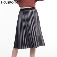 FICUSRONG New 2019 Causal High Waisted Skinny Female Velvet Skirt Pleated Skirts Autumn Winter Pleated Skirt Office Lady(China)