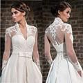 V-Neck Lace Wedding Boleros Long Sleeves Bridal Shawl Vintage Dress Accessories Custom Size and Color Wedding Jackets Sheer