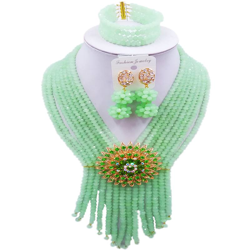 все цены на Artificial Mint Green Crystal Women Necklace Sets for Party and Festival 8C-SK-16 онлайн