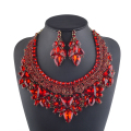 High End Red Color Bridal Necklace Earring Sets Women Statement Wedding Party Jewelry Decoration Christmas Present